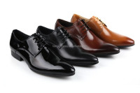 Pure Manual Brown/Black Mens Wedding Shoes Business Shoes Mens Genuine Leather Dress Shoes