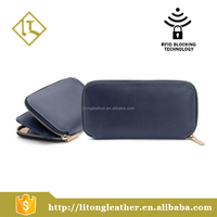 Classic style genuine leather zipper Clutch bag travel long wallet design for men