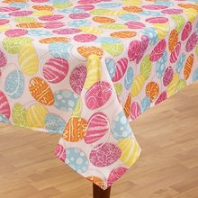Easter Colorful Decorative Eggs Fabric Tablecloth