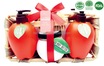 Bath Gift Set Anti-aging Shower Gel Bubble Bath Body Lotion with Apple Flavor