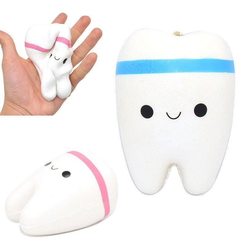Kawaii Animal Soft Teeth Squishy Slow Rising Jumbo Squeeze Upscale Jumbo Cell Phone Strap Pendant Toy color byRandom