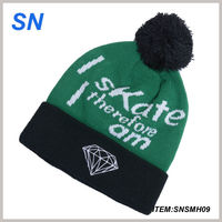 2015 wholesale custom logo screen print winter knit long Beanie Hat with pom in top