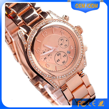 Slim Alloy Band Watch Women Small Crystal Case Wrist Watch With Stainless Steel Back