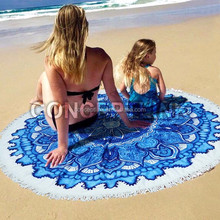 MOQ 200pcs Custom Printed Microfiber Beach Round Towel