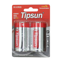 Blister pack 1.5V Tipsun LR20 size D alkaline battery made in China