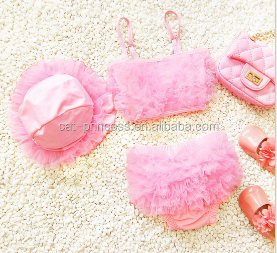Amazing design 3 pieces kids pink swim suit with hat