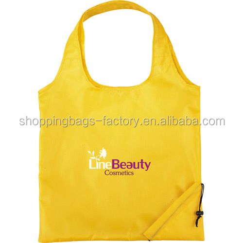 Recycled promotion reusable travel nylon shopping foldable polyester bag