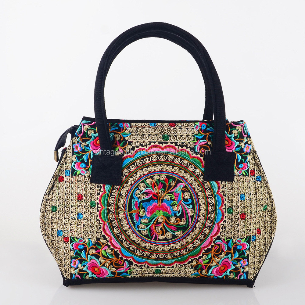Vintage Embroidery Ethnic Bags Women Handbag Flower Cross-body Shoulder Lady Shopping Bags Peacock Embroidered <strong>Totes</strong>