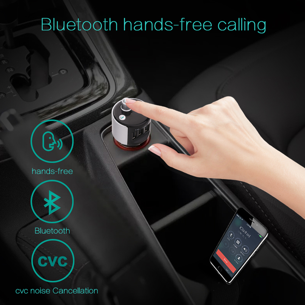 2017 New portable car mobile charger , 3 ports 4.8a fast bluetooth Usb car charger