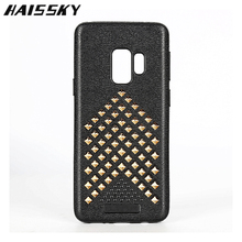 Haissky Riveting Phone Case For Samsung Galaxy S9 Plus Fashion Rivet + Soft Silicon Cover For Samsung S9 Plus