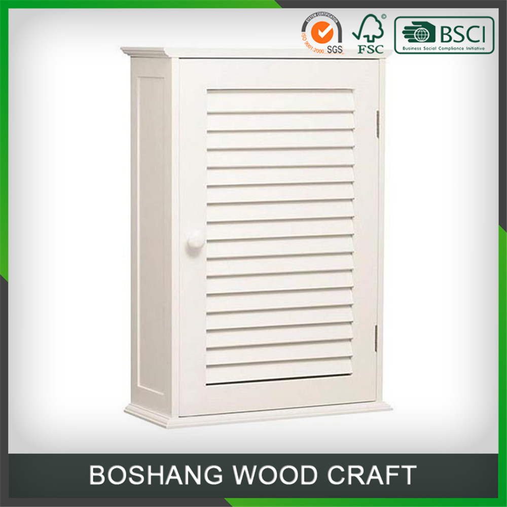 White Wall Hanging Bathroom Vanity Cabinet Shutter Door Bathroom Design
