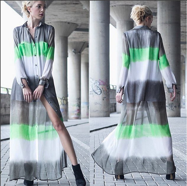 Fashion Chiffon Dress High Quality Women Bohemian Stripe Printed Tunic Dresses