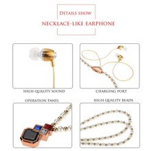 2017 new Necklace Earphone In-ear Earbud Hands-free Music Headset Jewelry with Mic Wireless Bluetooth 4.0 Stereo headphones