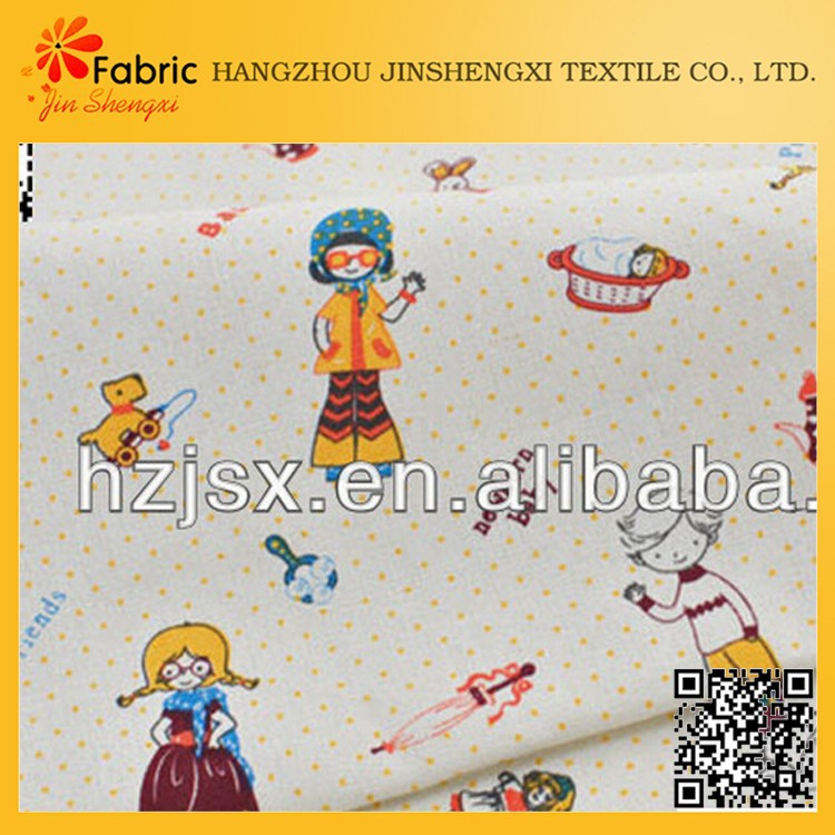 Cartoon printed children bedding soft colored muslin fabric
