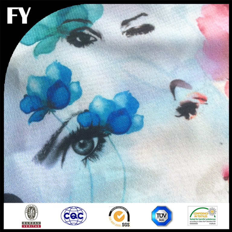 Low MOQ factory price digital printed habotai silk for scarf for garment