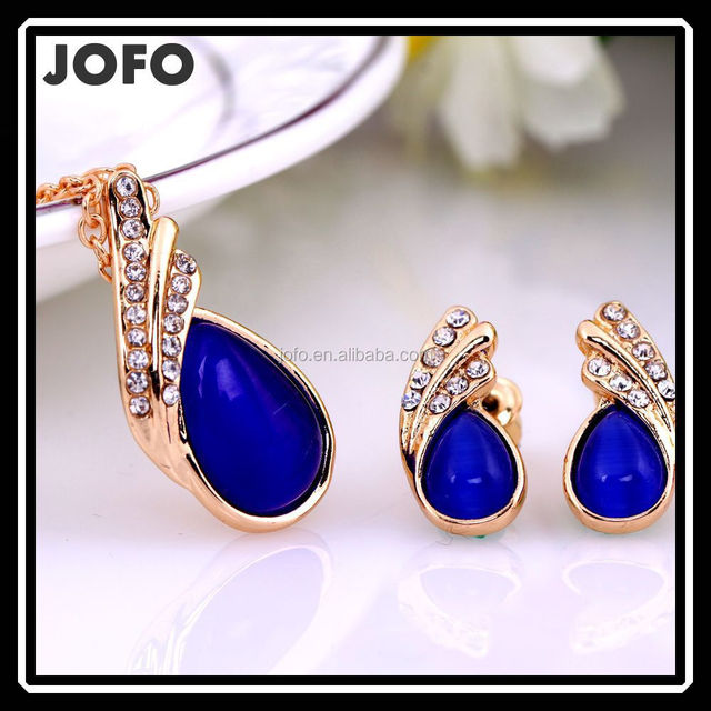 Gold Plated Opal Imitation Jewelry Set New Business Designer Jewelry Paypal Accepted Online Stores XPJ0231