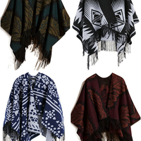 Latest Design Poncho Floral Print Fringed