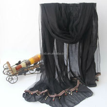 2015 New Arrival High Quality fashionable cashmere pashmina shawls with beads