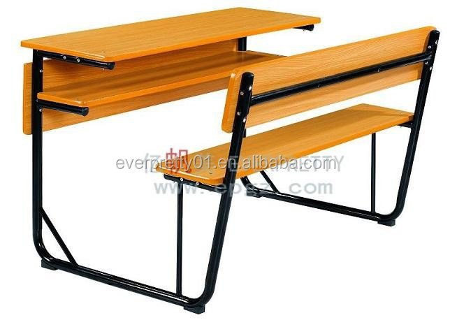 Hot Sale School Classroom Furniture Cheap School Desk and Chair, Double Wooden Student Desk and Chair for School Education