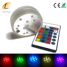 Submersible IP67 Waterproof LED Lights MultiColor Wedding Vase Submersible Floral Led Base Light with 24keys Remote Controller