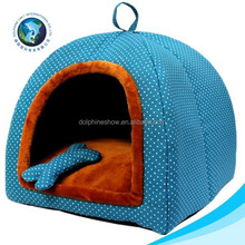 High quality blue plush pet home plush dog bed soft dog cat kennel