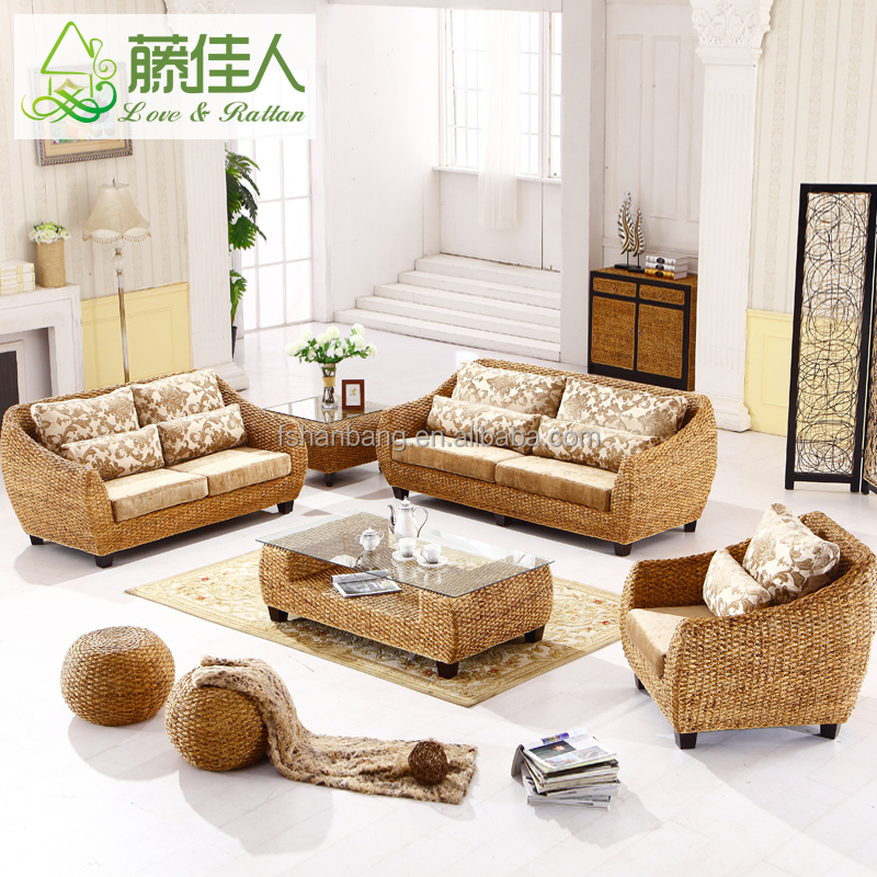 Elegant Luxury Exclusive Water Hyacinth Living Room Furniture Chesterfield <strong>Sofas</strong> at cheap price