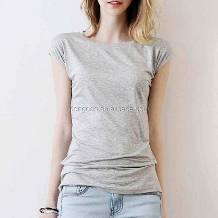 Solid Dri Fit Color Women Blank short sleeve cotton t shirt