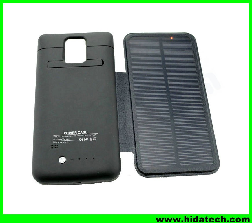 4800mah solar power bank charger case for samsung galaxy note 4 solar power bank charger