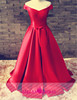 E06 Elegant red deep V-neckline sash bow satin ball gown latest design evening dresses 2015