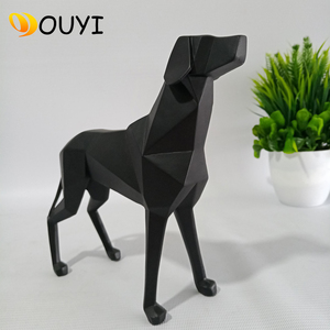 Popular decorative Art Resin Geometric Black Abstract Dog Statue