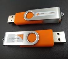 Metal clip usb swivel pen flash drive orange 8gb