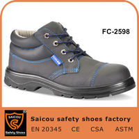 Free shipping and cheap industrial safety boots and black genuine leather unisex safety shoes and working boots FC-2598