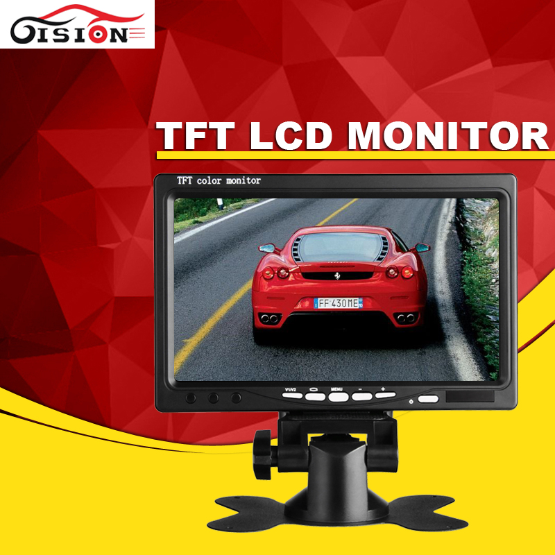 Gision Digital HD Monitor 7inch Color TFT LCD Car Monitor Support Rearview Camera
