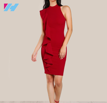 Wholesale women office dress ladies fashion elegant sleeveless sexy bodycon red formal dress