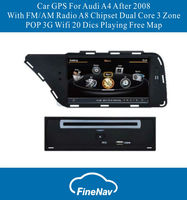 A8 Chipset 3G Car Audio and Radio For AUDI A4 AFTER 2008 With FM/AM Radio RDS Bluetooth IPOD TV 3 Zone POP Free Map