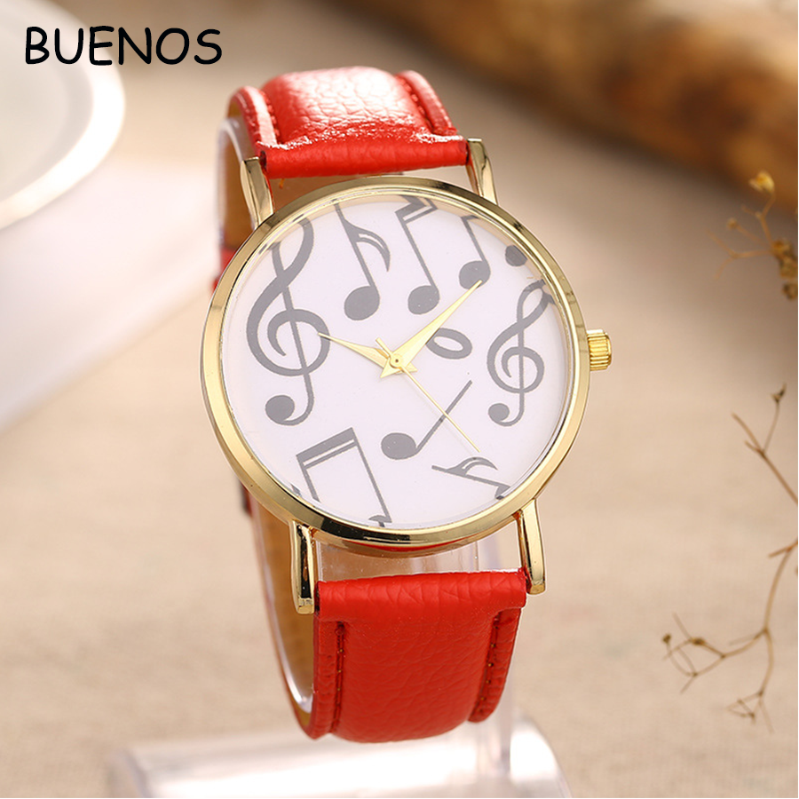 2017 Popular Trend Element Happy Musical Note Surface Cheap PU leather Women Watch