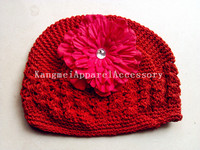 Fashion Red color Lovely baby knitted kufi hats with beautiful bow