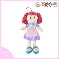 new arrival red hair dolls for kids girl soft cloth doll with bow hat and flower dress plush and stuffed baby toy