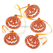 5' glitter pumpkin die cut garland for Halloween decoration,hanging paper garland