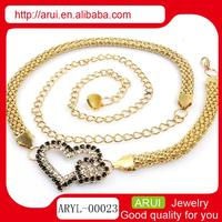 Fantasy body jewelry 2014 double heart belly waist chain piercing