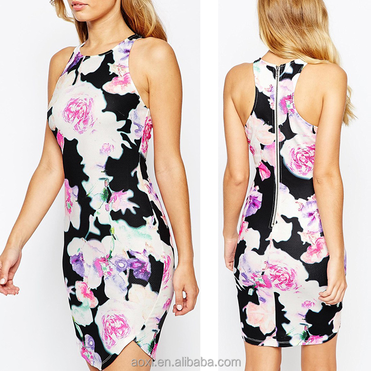 New apparel women clothing all over print 2015 casual summer dresses fashion