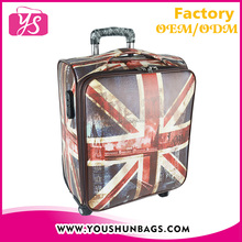 British flag printing custom logo lugage bag travel trolley luggage