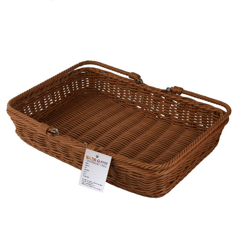 Portable hand woven PE rattan material takeout fruit food storage picnic basket with 2 handles