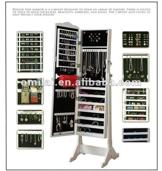 fashion wood jewelry armoire with mirror