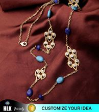 18k gold filled ahmedabad antique jewellery Blue Beaded Thin Chain Necklace