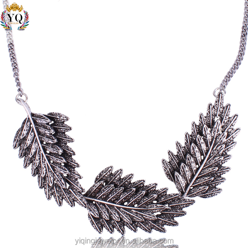 NYQ-00324 2016 simple design leaf shape alloy silver plated chain necklace jewelry