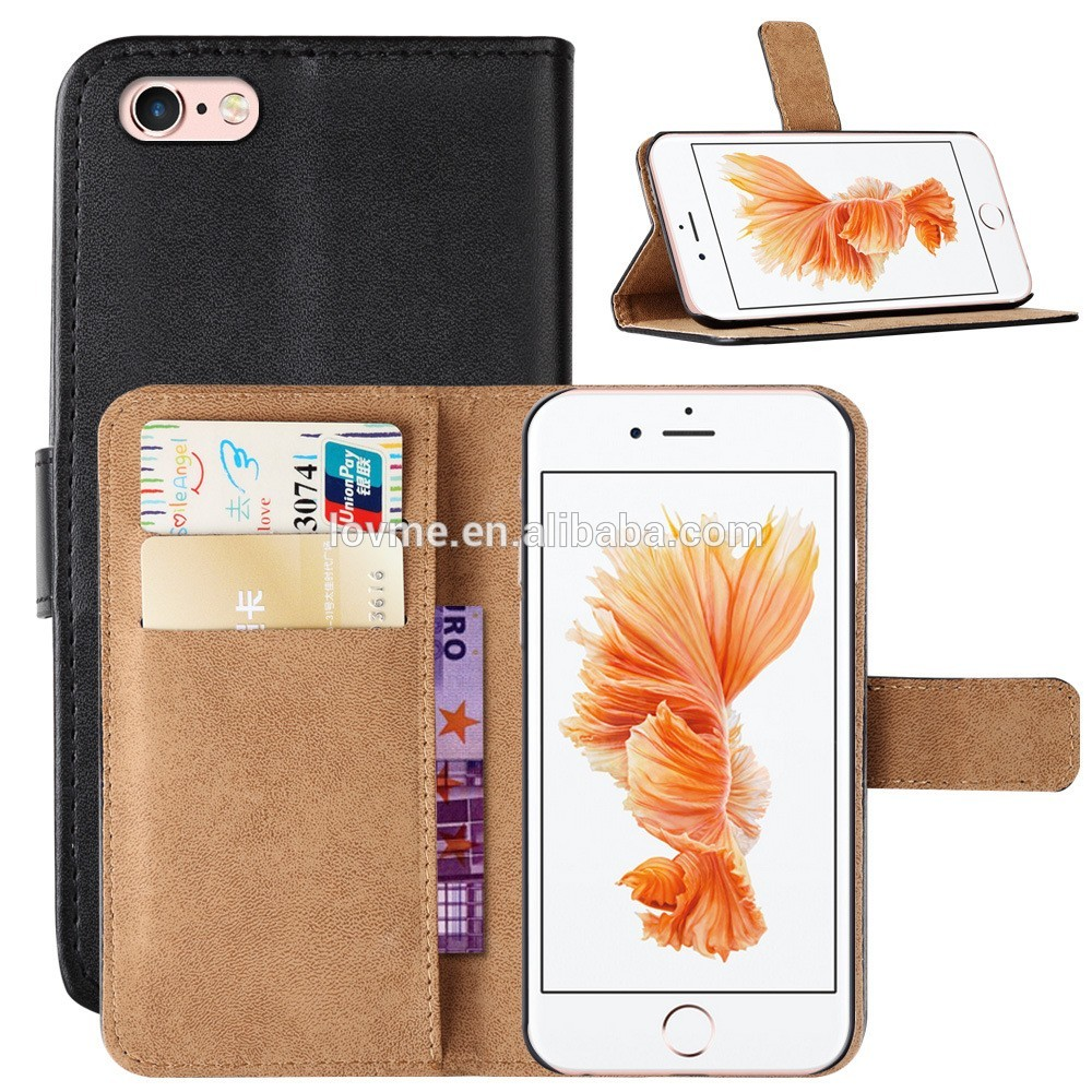 New Magnet Pu Leather Wallet Stand Mobile Phone Case Cover For Apple iPhone 7, For iPhone 7 Flip Leather Cover