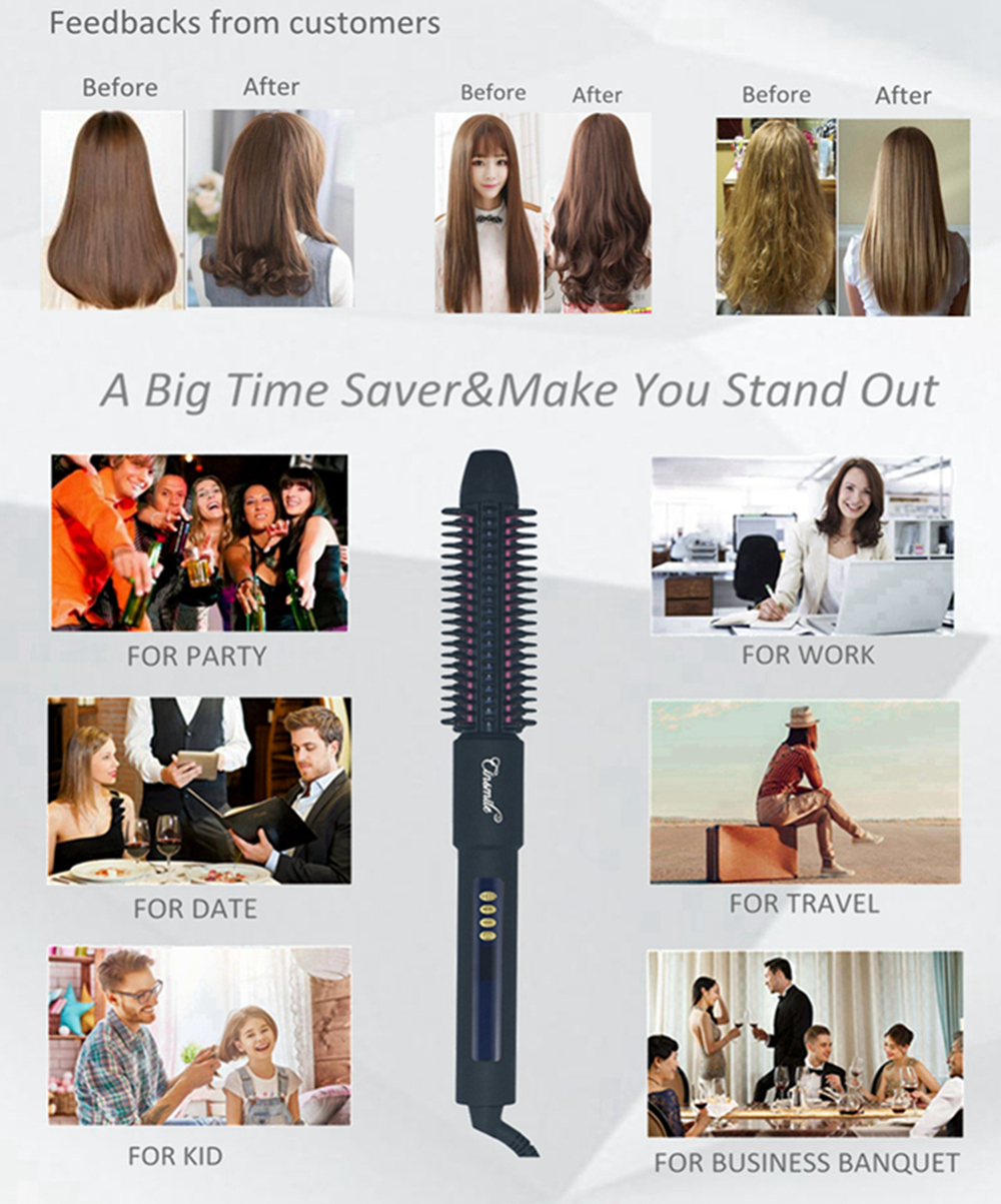 Fast Hair Straightener Brush Personalized Private Label Hair Straightening Professional Curler Ceramic Flat Iron Curling Wand