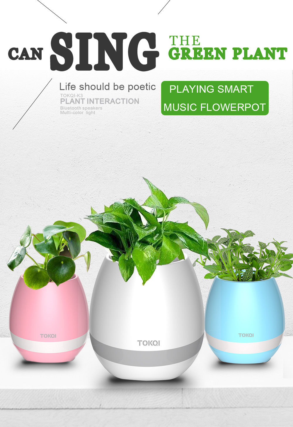 2017 Wholesale Price Latest Fashionable LED Light Touch Plant Sing songs FlowerPot Bluetooth Speaker