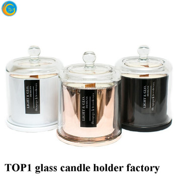 buy Rose gold metallic effect cheap flat dome glass bell jar cloche wholesale